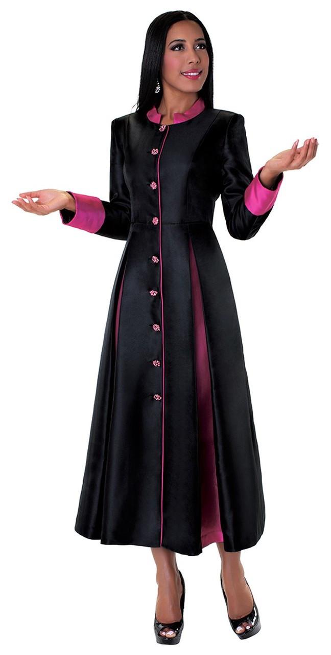 481f44d2ff8 Ladies 1-Piece Preaching Robe Dress In Black   Fuschia - Divinity Clergy  Wear