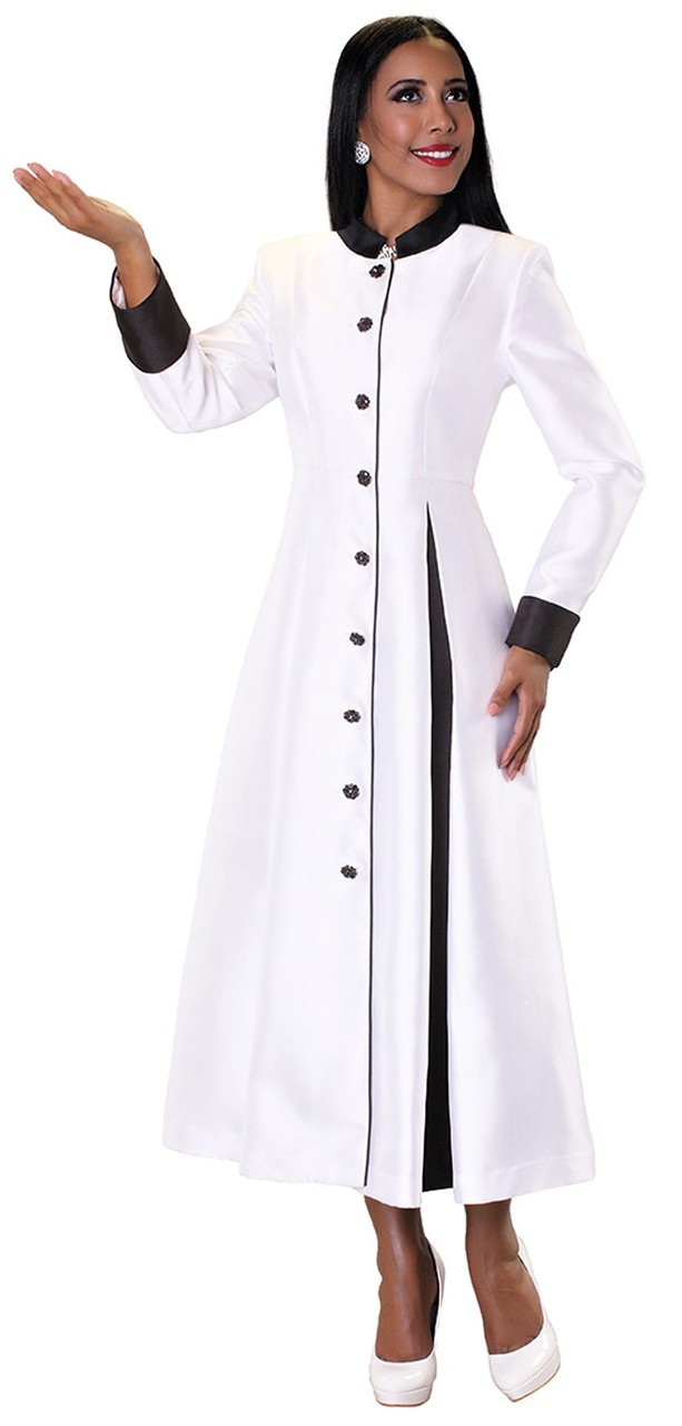 fc599035cfb Ladies 1-Piece Preaching Robe Dress In White   Black - Divinity Clergy Wear