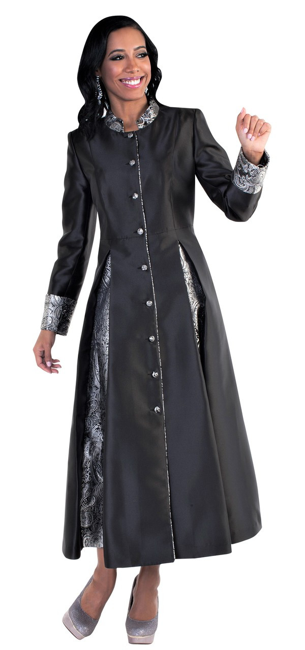 99f104a02ef Ladies 1-Piece Preaching Robe Dress In Black   Silver. Image 1. Click to  enlarge