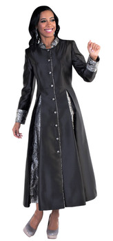 04. Ladies 1-Piece Preaching Robe Dress In Black & Silver