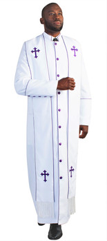 Men's Paul Clergy Robe In White & Purple