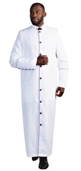 The Paul Clergy Robe For Men In White & Purple