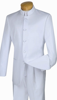 5-Button Banded Collar Clerical Suit In White