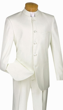 5-Button Banded Collar Clerical Suit In Ivory