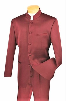 5-Button Banded Collar Clerical Suit In Burgundy