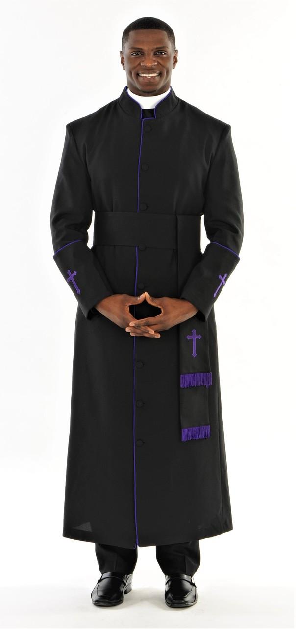 2791d63b56 Men s Preacher Clergy Robe   Cincture Set in Black   Purple. Image 1. Click  to enlarge