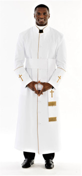 005. Men's Preacher Clergy Robe & Cincture Set in White & Gold