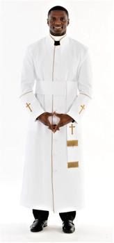 005. Men's Preacher Clergy Robe & Cincture Set in White & Gold