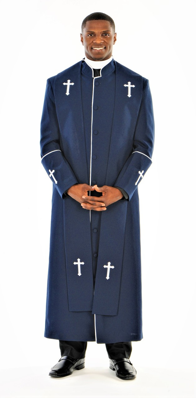 ec0d028356 Men s Preacher Clergy Robe   Stole in Navy   White - Divinity Clergy Wear