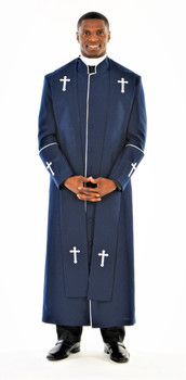004. Men's Preacher Clergy Robe & Stole in Navy & White