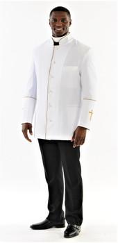 001. Men's Preacher Clergy Jacket in White & Gold