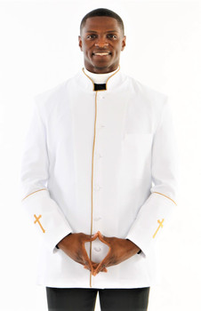 001. Men's Preacher Clergy Jacket in White & Gold