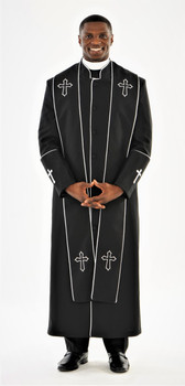 004. Men's Preacher Clergy Robe & Stole in Black & White