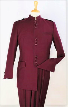 9-Button Banded Collar Clerical Suit In Burgundy