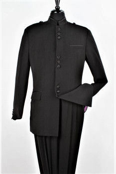9-Button Banded Collar Clerical Suit In Black