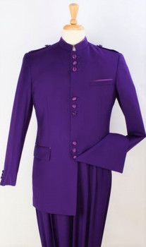9-Button Banded Collar Clerical Suit In Purple