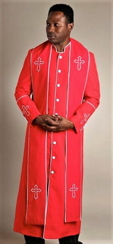 004.  Men's Trinity Clergy Robe & Stole Set In Red & White