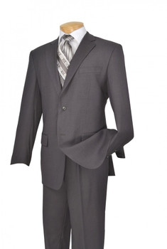 Gray 2-Piece Single Breasted Single Pleat Suit