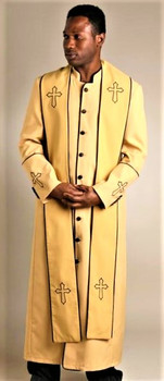 004.  Men's Trinity Clergy Robe & Stole Set In Gold & Black