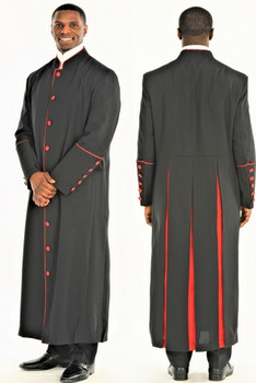 001. Men's Adam Clergy Robe in Black & Red