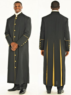 001. Men's Adam Clergy Robe in Black & Gold