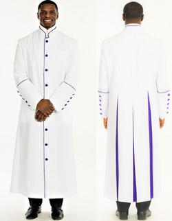 001. Men's Adam Clergy Robe in White & Purple