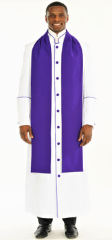 004. Men's Adam Clergy Robe & Tippet in White & Purple
