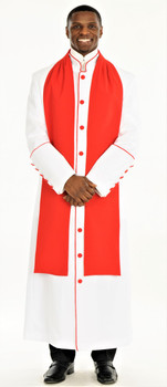 004. Men's Adam Clergy Robe & Tippet in White & Red