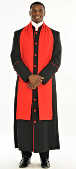 004. Men's Adam Clergy Robe & Tippet in Black & Red