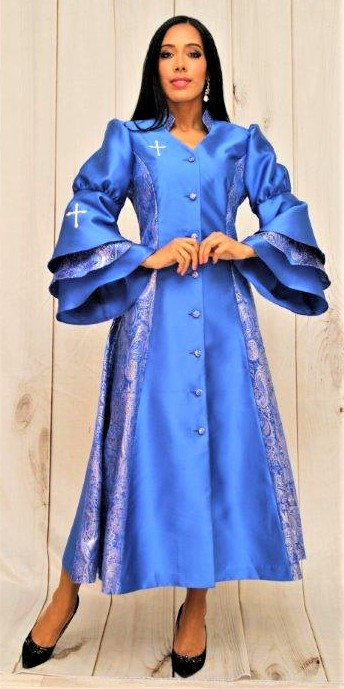 773b48a08f8 Ladies 1-Piece Preaching Robe Dress In Royal Blue - Divinity Clergy Wear
