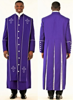 001. Men's Adam Clergy Robe & Stole in Purple & White