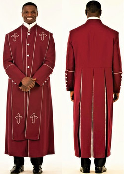 001. Men's Adam Clergy Robe & Stole in Burgundy & Silver