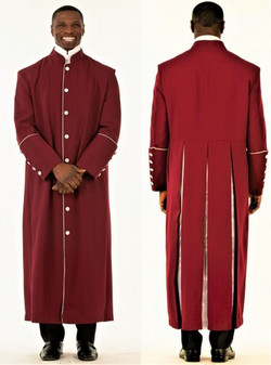 001. Men's Adam Clergy Robe in Burgundy & Silver