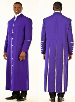 001. Men's Adam Clergy Robe in Purple & White
