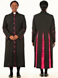 15575dfb229 Rachel Clergy Robe For Ladies In Black   Fuschia