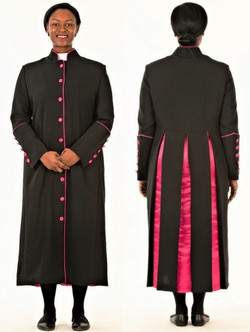 CLOSEOUT: 001. Rachel Clergy Robe For Ladies In Black & Fuschia