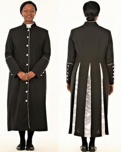 001. Rachel Clergy Robe For Ladies In Black & Silver
