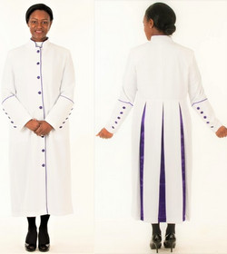 001. Rachel Clergy Robe For Ladies In White & Purple