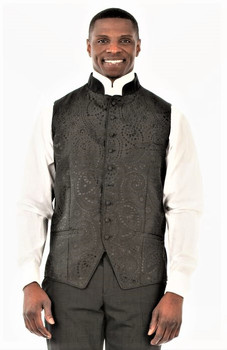 Gershon Clergy Vest in Black & Silver