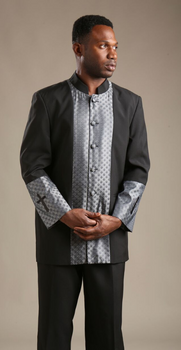 01. The Cain Clergy Suit In Black & Silver