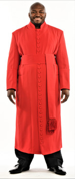 005. Men's 27-Button Roman Cassock & Cincture Set In Red