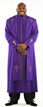 004. Men's Preacher Clergy Robe & Stole in Purple & Gold