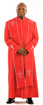004. Men's Preacher Clergy Robe & Stole in Red & White