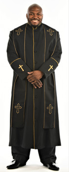 004. Men's Preacher Clergy Robe & Stole in Black & Gold