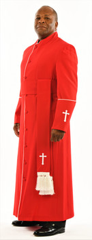 005. Men's Preacher Clergy Robe & Cincture Set in Red & White
