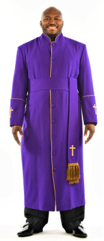 005. Men's Preacher Clergy Robe & Cincture Set in Purple & Gold