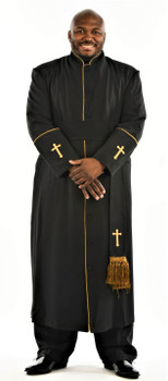 CLEARANCE: 005. Men's Preacher Clergy Robe & Cincture Set in Black & Gold