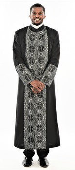 001. Men's Cain Clergy Robe In Black & Silver