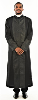 001. Men's Cain Clergy Robe In Black on Black