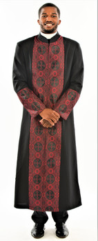 CLEARANCE: 001. Men's Joseph Clergy Robe In Black & Red